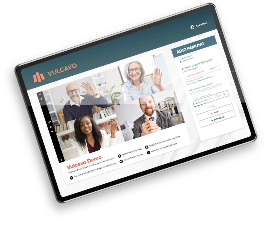 Digitale Eigentümerversammlung - Funktionen Tablet